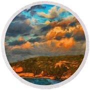 Nature Landscape Oil Painting Round Beach Towel