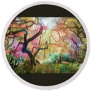 15 Abstract Japanese Maple Tree Round Beach Towel
