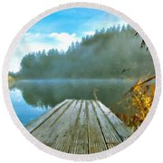 Acrylic Landscape Painting Round Beach Towel