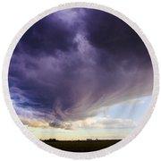 Afternoon Nebraska Thunderstorm Round Beach Towel