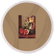 bs- George Henry Hall- Still Life George Henry Hall Round Beach Towel