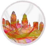 Cincinnati Ohio Skyline  Round Beach Towel