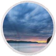 Cloudy Sunrise Seascape Round Beach Towel