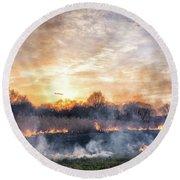 Fires Sunset Landscape Round Beach Towel