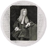 Isaac Newton, English Polymath Round Beach Towel by Science Source