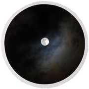 Moon And The Clouds Round Beach Towel