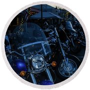 Motorcycles On Main Round Beach Towel
