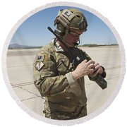 Pararescuemen Conducts A Communications Round Beach Towel