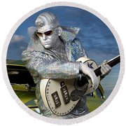 Silver Elvis Round Beach Towel