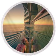 Sunset Over Alaska Fjords On A Cruise Trip Near Ketchikan Round Beach Towel