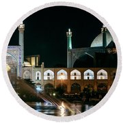 The Shah Mosque Famous Landmark In Isfahan City Iran Round Beach Towel