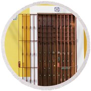 Wooden Door In Old San Juan, Puerto Rico Round Beach Towel