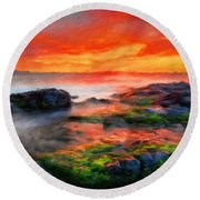 Nature Painted Landscape Round Beach Towel