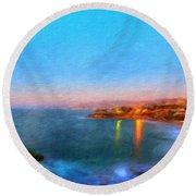 Nature Landscape Painting Round Beach Towel