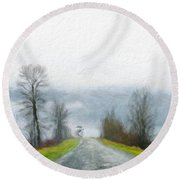 Oil Painting Landscape Pictures Nature Round Beach Towel