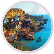 Nature Landscape Oil Round Beach Towel