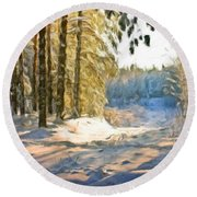 Oil Painting Landscape Pictures Round Beach Towel