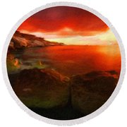Nature Oil Painting Landscape Round Beach Towel