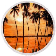 Landscape Paintings Nature Round Beach Towel