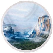 Nature Landscape Lighting Round Beach Towel
