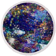 16-1 Blue Space Round Beach Towel