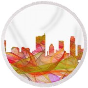 Austin Texas Skyline Round Beach Towel