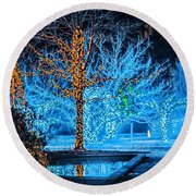 Christmas Season Decorations And Lights At Gardens Round Beach Towel