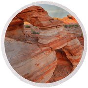 First Light On Valley Of Fire Round Beach Towel