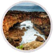 M N Landscape Round Beach Towel