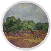 Olive Trees Round Beach Towel