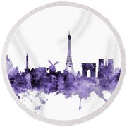 Paris France Skyline Round Beach Towel