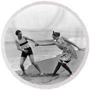 Silent Film Still: Couples Round Beach Towel