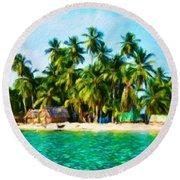 Nature Oil Painting Landscape Images Round Beach Towel