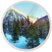 Nature Oil Paintings Landscapes Round Beach Towel
