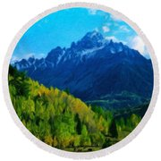 Nature Original Landscape Painting Round Beach Towel