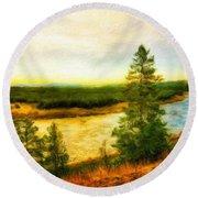 Nature Painted Landscape Round Beach Towel