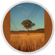 Country Agricultural And Farming Field. Round Beach Towel