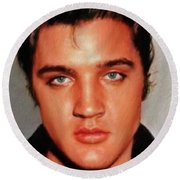 Elvis Presley, Rock And Roll Legend Round Beach Towel