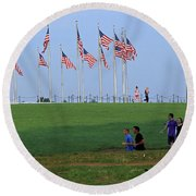 17 Flags 7 People 1 Tree Trunk Round Beach Towel
