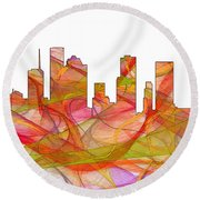 Houston Texas Skyline Round Beach Towel