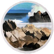 17 Mile Drive Pacific Ocean  Round Beach Towel