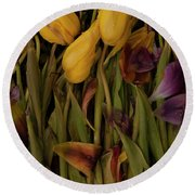 Tulips Wilting Round Beach Towel