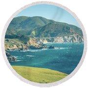 Western Usa Pacific Coast In California Round Beach Towel