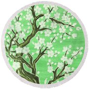 White Tree In Blossom, Painting Round Beach Towel