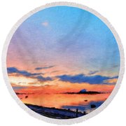 Nature Landscape Paintings Round Beach Towel
