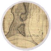 1765 Florida Coast Map Round Beach Towel