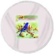 1795 - Blue Grosbeak Round Beach Towel