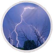 17th Street Lightning Strike Fine Art Photo Round Beach Towel