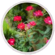 Knockout Roses Painted  Round Beach Towel