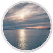 Sunset Over Alaska Fjords On A Cruise Trip Near Ketchikan Round Beach Towel